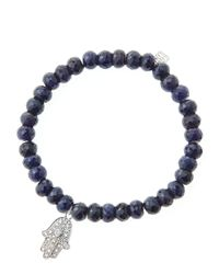 Sydney Evan | Black 6mm Faceted Sapphire Beaded Bracelet With 14k White Gold/diamond Medium Hamsa Charm (made To Order) | Lyst