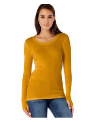 Michael Stars | Orange Long Sleeve Thermal Scoop Neck With Thumb Holes | Lyst