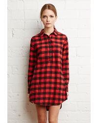 bb5bd9bc829 Forever 21 Buffalo Plaid Shirt Dress in Red - Lyst