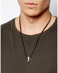 Seven London | Brown Tooth On Suede Necklace for Men | Lyst