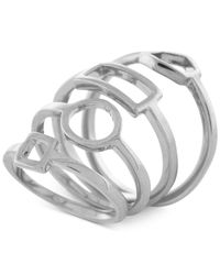 Vince Camuto - Metallic Silver-tone Shape Stack Ring - Lyst