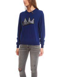 Markus Lupfer - Blue Crown Sequin Sweater - Lyst