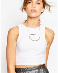 ASOS - Metallic Deconstructed Semi Circle Necklace - Lyst