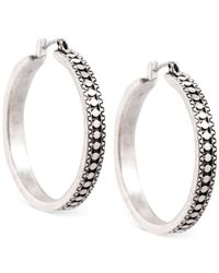 Lucky Brand - Metallic Silver-tone Etched Hoop Earrings - Lyst