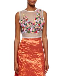 Nicole Miller - Multicolor Embellished Organza Crop Top - Lyst