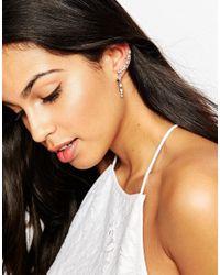 Lipsy | Metallic Crystal Ear Cuffs With Drop | Lyst