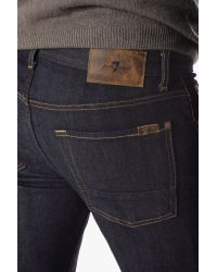7 For All Mankind | Blue Stretch Selvedge Slimmy Slim Straight With Split Seam Pocket In Dark Indigo | Lyst