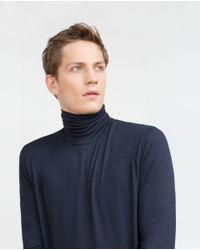 Zara | Blue High Neck T-shirt for Men | Lyst