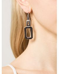 Rebecca | Metallic 'elizabeth' Square Drop Earrings | Lyst