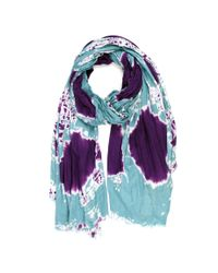 Michael Stars | Blue Viscose Scarf With Tie Dye Art And Raw Edge Fringe | Lyst