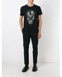 Alexander McQueen - Black Floral Skull T-shirt for Men - Lyst