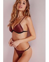 Missguided | Metallic Satin Gold Ring Detail Triangle Bra Burgundy | Lyst