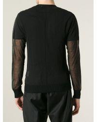 Givenchy - Black Sheer V-neck Sweater for Men - Lyst