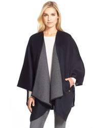MICHAEL Michael Kors | Blue Two-tone Wool Blend Cape | Lyst