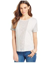 DKNY | Natural Lace-front Short-sleeve T-shirt | Lyst
