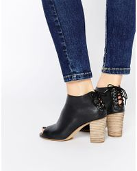 Dune - Indianna Black Leather Peep Toe Shoe Boots - Lyst