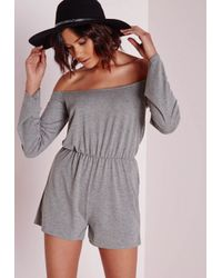 Missguided | Gray Jersey Bardot Romper Grey | Lyst