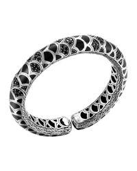 John Hardy | Metallic Naga Silver Lava & Enamel Slim Flex Cuff With Black Enamel And Sapphires | Lyst