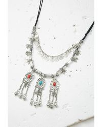 Forever 21 | Metallic Layered Faux Stone Necklace | Lyst