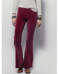 Free People | Red Womens Pull On Corduroy Flare | Lyst