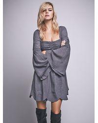 Free People | Gray Duchess Babydoll Dress | Lyst