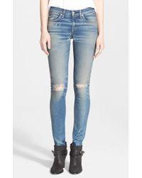 Rag & Bone - Blue 'the Skinny' Destructed Jeans - Lyst