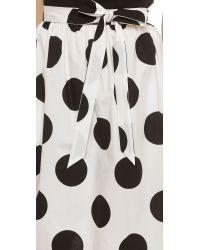 RED Valentino - Black Polka Dot Wrap Skirt - White - Lyst