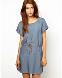Sessun | Blue Easy Dress In Chambray With Leather Belt | Lyst