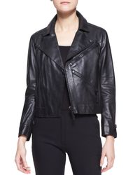 KENZO - Black Leather Zip Motorcycle Jacket - Lyst