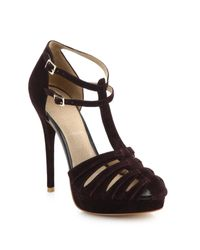 Joie | Purple Rexanne T-strap Suede Platform Heels | Lyst