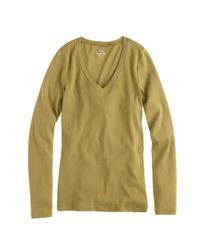 J.Crew - Green Perfect-fit Long-sleeve V-neck T-shirt - Lyst
