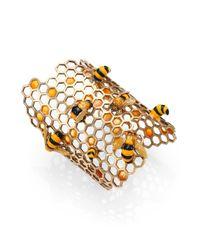 Delfina Delettrez - Metallic To Bee Or Not To Bee Honeycomb Opencuff Bracelet - Lyst