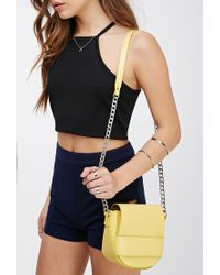 Forever 21 - Yellow Faux Leather Flaptop Crossbody - Lyst