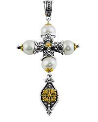 Konstantino | 18K Yellow Gold Pearl Cross Pendant Enhancer | Lyst