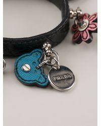 Prada - Black Charm Bracelet - Lyst