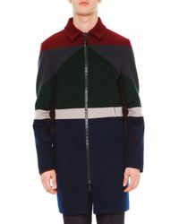 Valentino - Brown Colorblock Long-sleeve Coat - Lyst