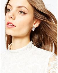 ASOS | Pink Drop Jewel Stud Earrings | Lyst