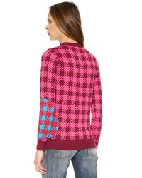 House of Holland - Check Sweater - Red Multi - Lyst