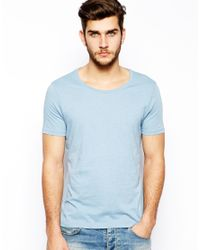 ASOS | Blue Tshirt with Scoop Neck for Men | Lyst