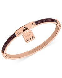 Michael Kors | Rose Gold-Tone Red Pavé Padlock Hinge Bangle Bracelet - A Macy'S Exclusive | Lyst