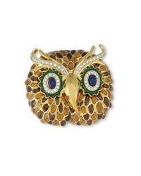 Kenneth Jay Lane | Metallic Brown Owl Brooch | Lyst