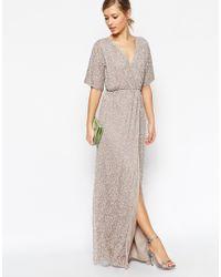 ASOS | Gray Sequin Kimono Maxi Dress | Lyst