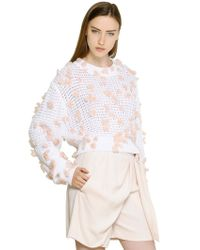 "Chloé - White ""Confetti"" Cotton Blend Sweater - Lyst"