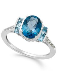 Macy's | Blue Topaz (2-1/5 Ct. T.w.) And Diamond Accent Ring In 14k White Gold | Lyst