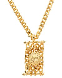 Versus | Metallic Gold Tone Lion And Chain Necklace for Men | Lyst