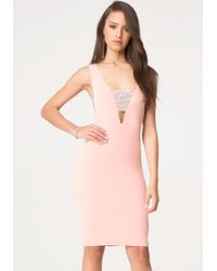 Bebe - Pink Stone Cutout Midi Dress - Lyst