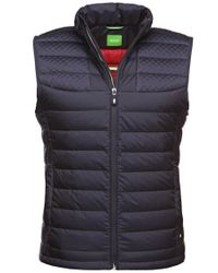 BOSS Green Blue Quilted Waistcoat With Down Filling: 'vilar' for men
