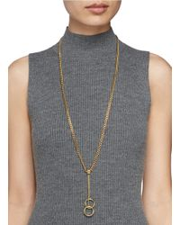 Chloé - Metallic 'carly' Double Ring Pendant Long Necklace - Lyst