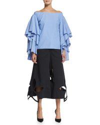 Rosie Assoulin - Black Floral Cutout Cotton Twill Culottes - Lyst
