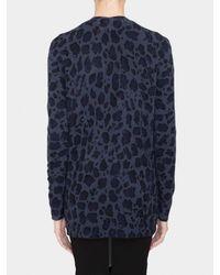 White   warren Cashmere Leopard Print Cardigan in Blue | Lyst
